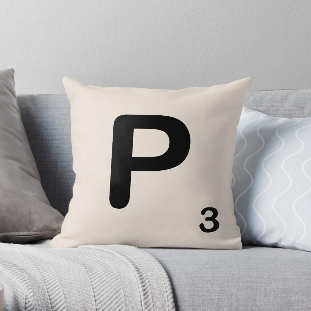 Scrabble Tile P Throw Pillow