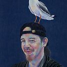David with a bird by Karen  Foster