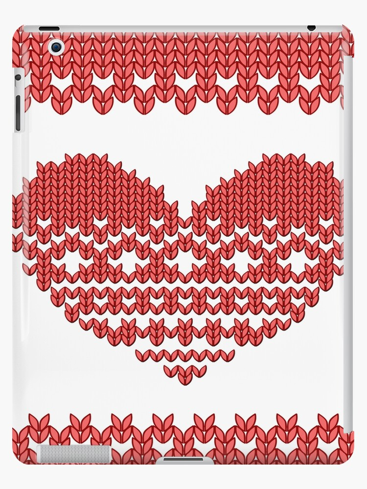 Red Knitted Look Love Heart  by CroDesign