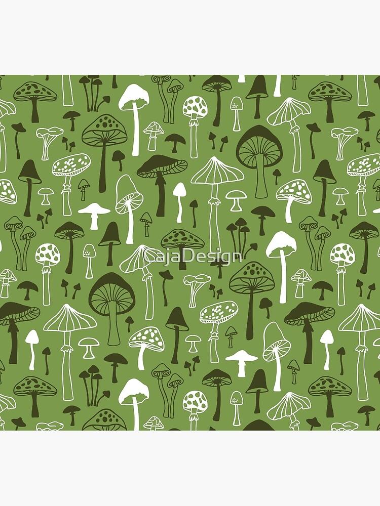 Mushrooms in Green by CajaDesign