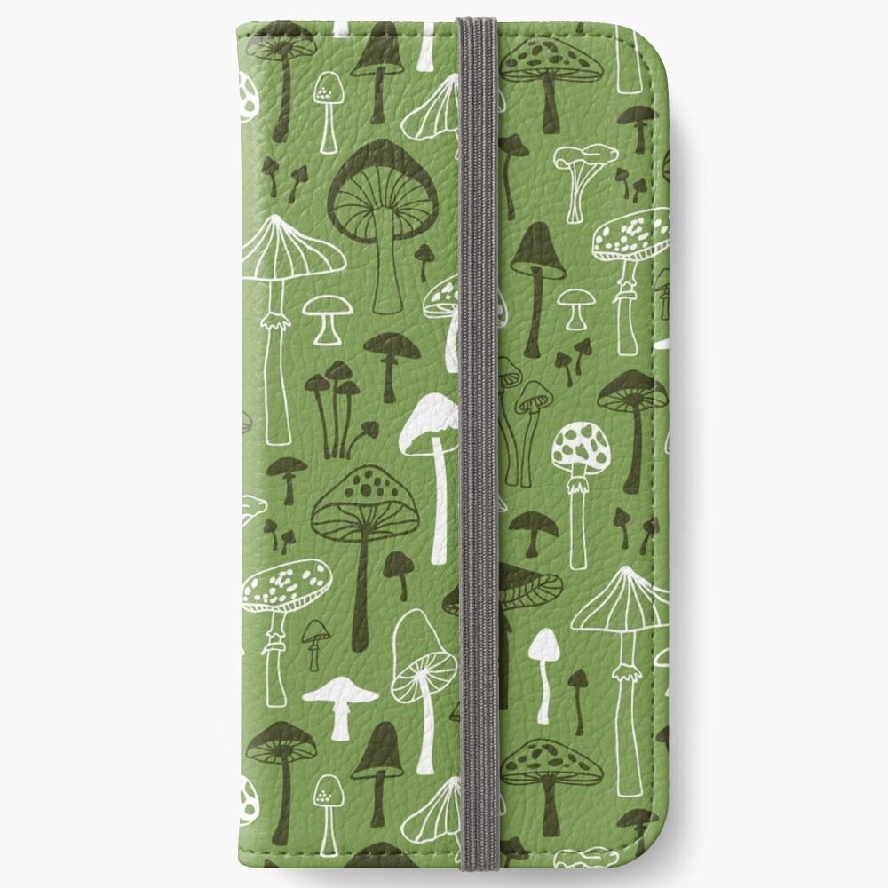Mushrooms in Green iPhone Wallet