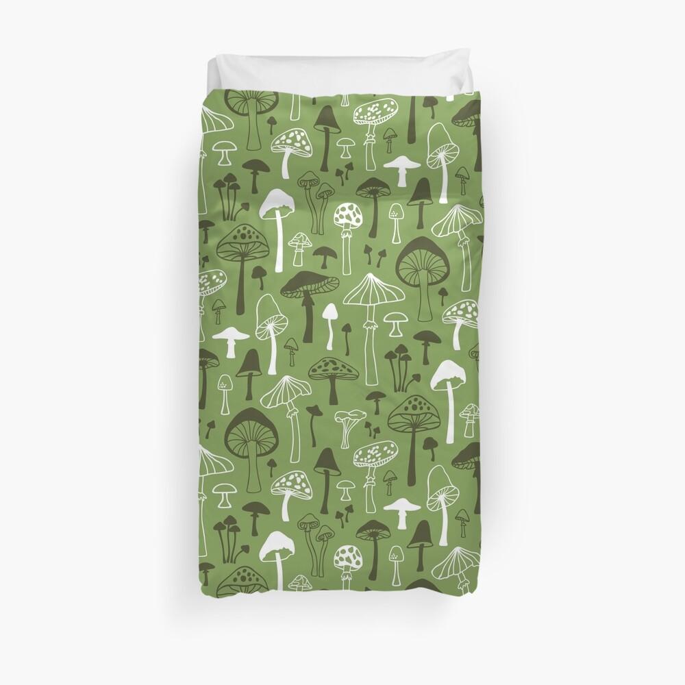 Mushrooms in Green Duvet Cover