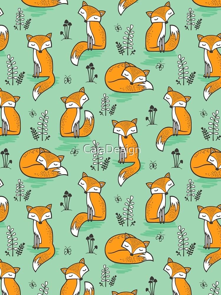 Dreamy Fox in Grün von CajaDesign