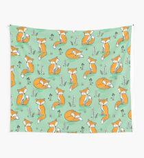 Dreamy Fox in Green Wall Tapestry