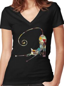 COLORFUL  CAT Women's Fitted V-Neck T-Shirt