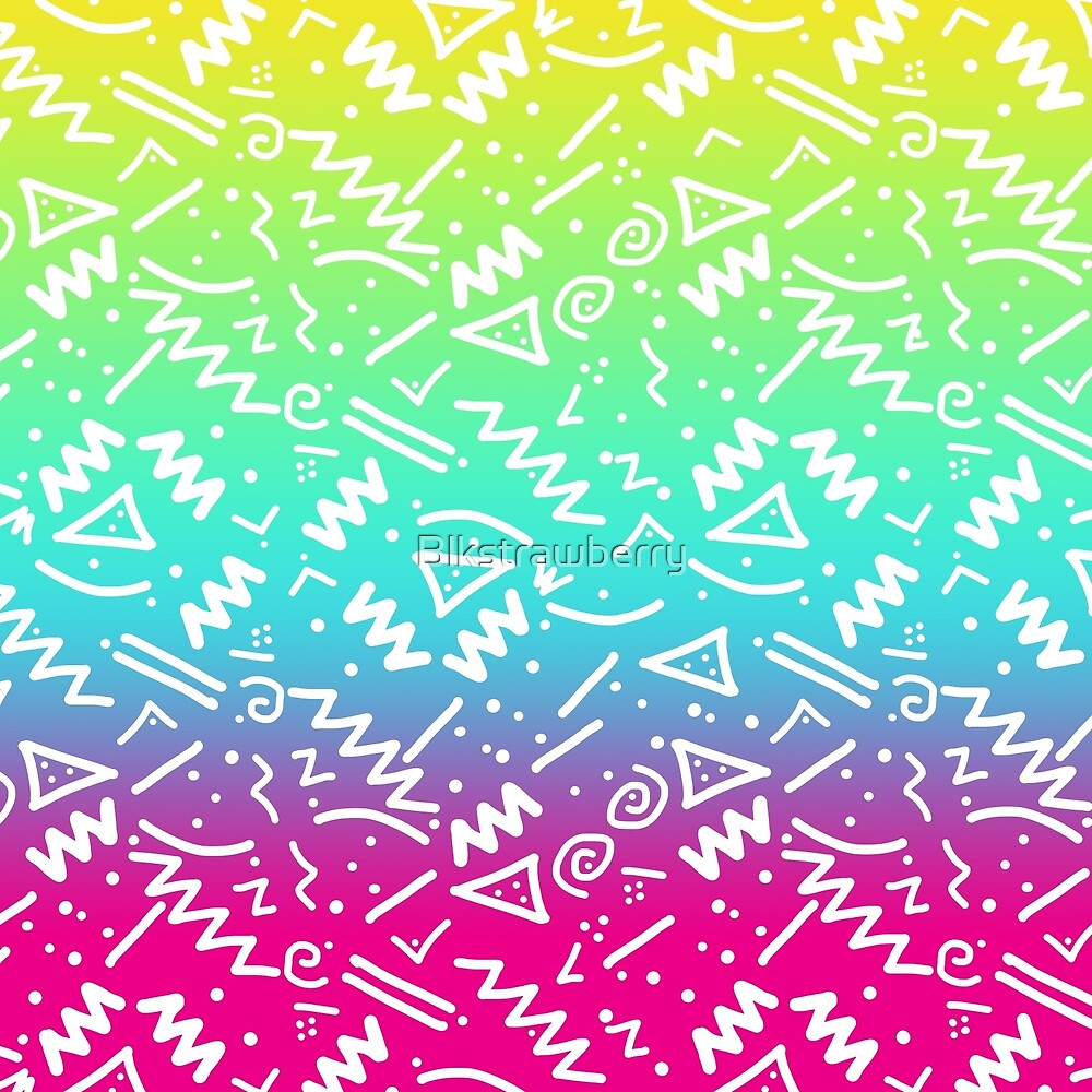 Retro 80's 90's Neon Rainbow Sketched Doodle by Blkstrawberry