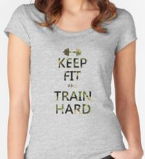 KEEP FIT and TRAIN HARD (camo) Women's Fitted Scoop T-Shirt
