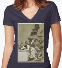 Francisco De Goya  - The Sleep Of Reason Produces Monsters. Bird painting: cute fowl, fly, wings, lucky, pets, wild life, animal, birds, little small, bird, nature Women's Fitted V-Neck T-Shirt