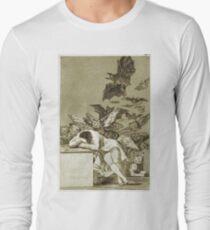 Francisco De Goya  - The Sleep Of Reason Produces Monsters. Bird painting: cute fowl, fly, wings, lucky, pets, wild life, animal, birds, little small, bird, nature Long Sleeve T-Shirt