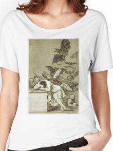 Francisco De Goya  - The Sleep Of Reason Produces Monsters. Bird painting: cute fowl, fly, wings, lucky, pets, wild life, animal, birds, little small, bird, nature Women's Relaxed Fit T-Shirt