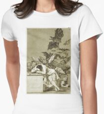 Francisco De Goya  - The Sleep Of Reason Produces Monsters. Bird painting: cute fowl, fly, wings, lucky, pets, wild life, animal, birds, little small, bird, nature Womens Fitted T-Shirt