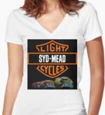 c5f208f03 Syd Mead Light Cycles Fitted V-Neck T-Shirt