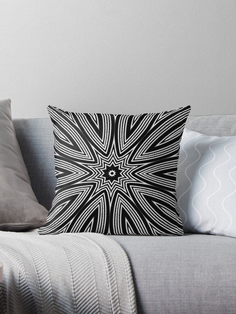Black and White Kaleidoscope Design Pillow Throw Pillows by red