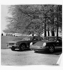 Jensen Interceptor and Porsche 911 Poster