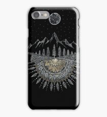 Moon and Stars Night Sky Mountain Range Arrow Mandala iPhone Case/Skin