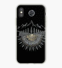 Moon and Stars Night Sky Mountain Range Arrow Mandala iPhone Case