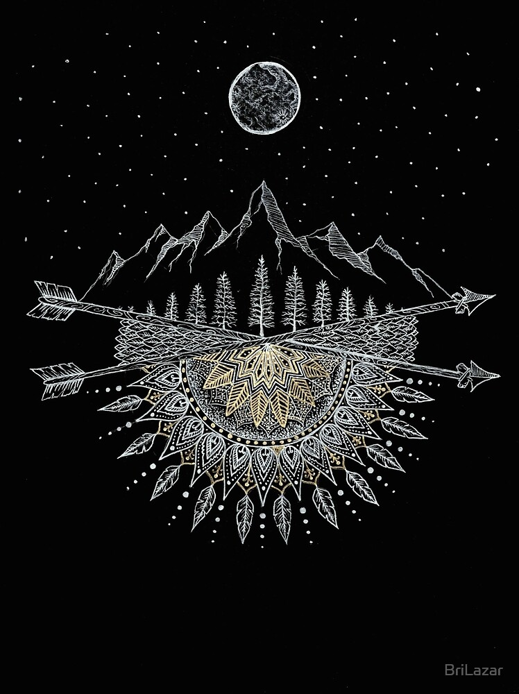 Moon and Stars Night Sky Mountain Range Arrow Mandala by BriLazar