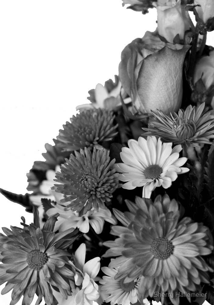 Half of Floral Arrangement in B & W by Sherry Hallemeier