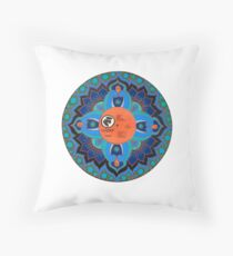 Painted Record Mandala with Dove Label Throw Pillow