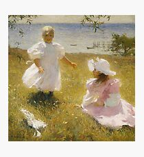 Frank Weston Benson - The Sisters. Child portrait: cute baby, kid, children, pretty angel, child, kids, lovely family, boys and girls, boy and girl, mom mum mammy mam, childhood Photographic Print