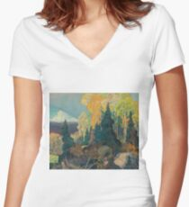Franklin Carmichael - Bay Of Islands . Mountains landscape: mountains, rocks, rocky nature, sky and clouds, trees, peak, forest, rustic, hill, travel, hillside Women's Fitted V-Neck T-Shirt