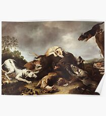 Frans Snyders - The Boar Hunt 1650. hunting scenes painting: cute dog, dogs, doggy, lucky, pets, wild life, animal, smile, little small, kids, nature Poster