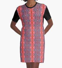 Summer Splash - Coral and Blue Graphic T-Shirt Dress