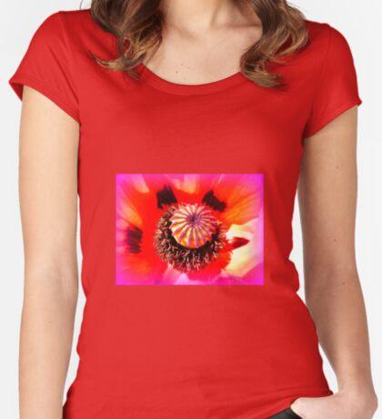 Oriental Poppy Portrait Women's Fitted Scoop T-Shirt