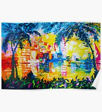 Bright Cityscape Through Palm Trees Romantic Couple Painting Poster