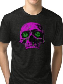 Pixel Art skull Tri-blend T-Shirt