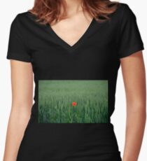 Poppy in Wheat Field Women's Fitted V-Neck T-Shirt