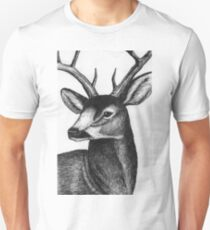 Detailed black and white ink deer Unisex T-Shirt