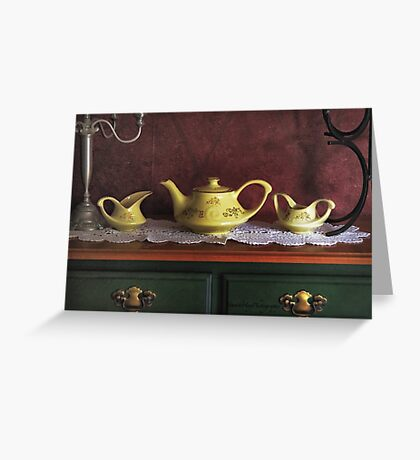 Vintage Yellow Tea Set - Selected in Solo Exhibition women in the arts Greeting Card
