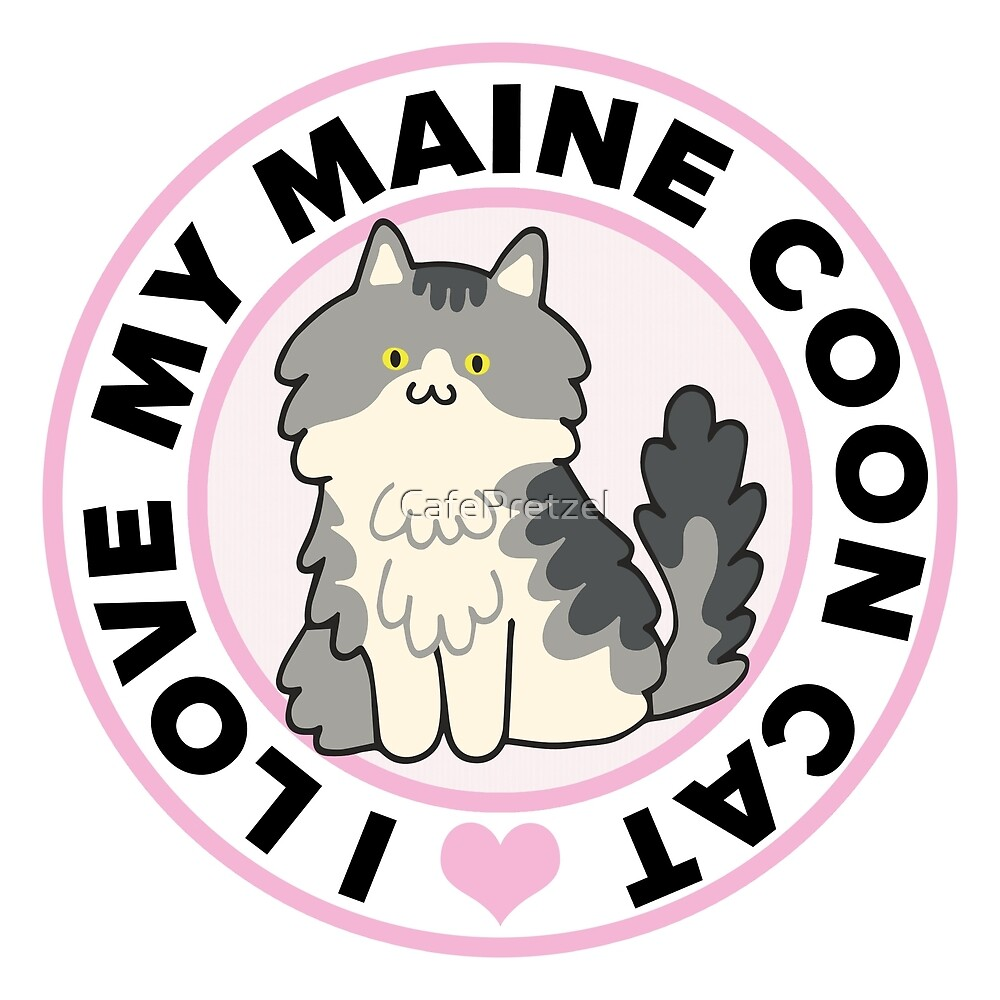 Maine Coon Cat T-Shirts by CafePretzel