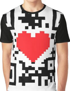 QR Code Heart Love Message  Graphic T-Shirt