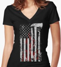American Firefighter Women's Fitted V-Neck T-Shirt
