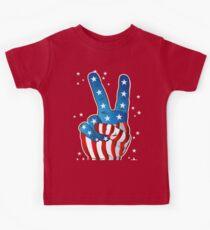 American Patriotic Victory Peace Hand Fingers Sign Kids Tee