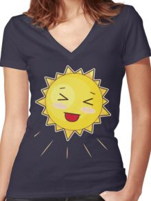 Cute Sunny Smile Women's Fitted V-Neck T-Shirt