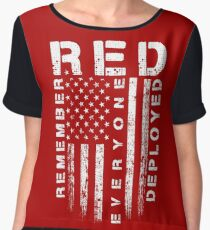 Red Friday - Remember Everyone Deployed Chiffon Top