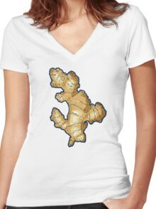 ginger root power Women's Fitted V-Neck T-Shirt
