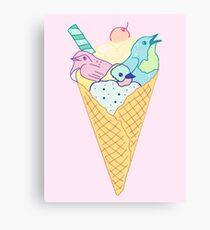 ice cream birds Canvas Print