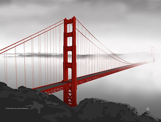 Golden Gate Bridge (Vectorillustration) by . VectorInk