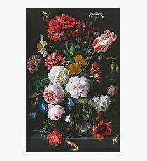 Jan Davidsz De Heem - Still Life With Flowers In A Glass Vase. Still life with fruits and vegetables: fruit, vegetable, grapes, tasty, gastronomy food, flowers, dish, cooking, kitchen, vase Photographic Print