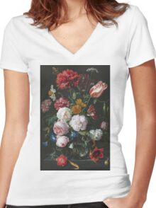 Jan Davidsz De Heem - Still Life With Flowers In A Glass Vase. Still life with fruits and vegetables: fruit, vegetable, grapes, tasty, gastronomy food, flowers, dish, cooking, kitchen, vase Women's Fitted V-Neck T-Shirt