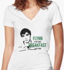 Flynn Loves Breakfast Women's Fitted V-Neck T-Shirt