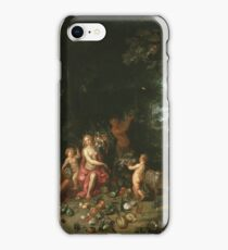 Jan Brueghel The Elder - Landscape With Ceres (Allegory Of Earth) 1630. Vintage Baroque oil famous painting : goddess Ceres, garden, floral flora, still life with fruits and vegetables, fruit . iPhone Case/Skin