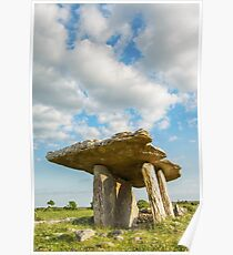 5000 years old Polnabrone Dolmen in Burren, Co. Clare - Ireland Poster