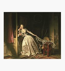 Jean-Honore Fragonard - The Stolen Kiss. Lovers portrait: sensual woman, woman and man, kiss, kissing lovers, love relations, lovely couple, family, valentine's day, sexy, romance, female and male Photographic Print