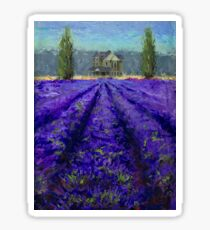 Plein Air Lavender Landscape and Farm House Impressionistic Painting Sticker