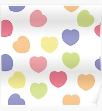 Beautiful heart shape texture isolated on white Poster